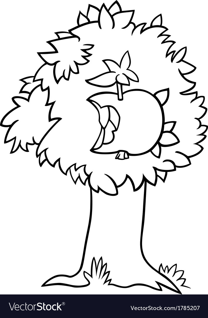 Nibbled apple on tree coloring page vector | Price: 1 Credit (USD $1)
