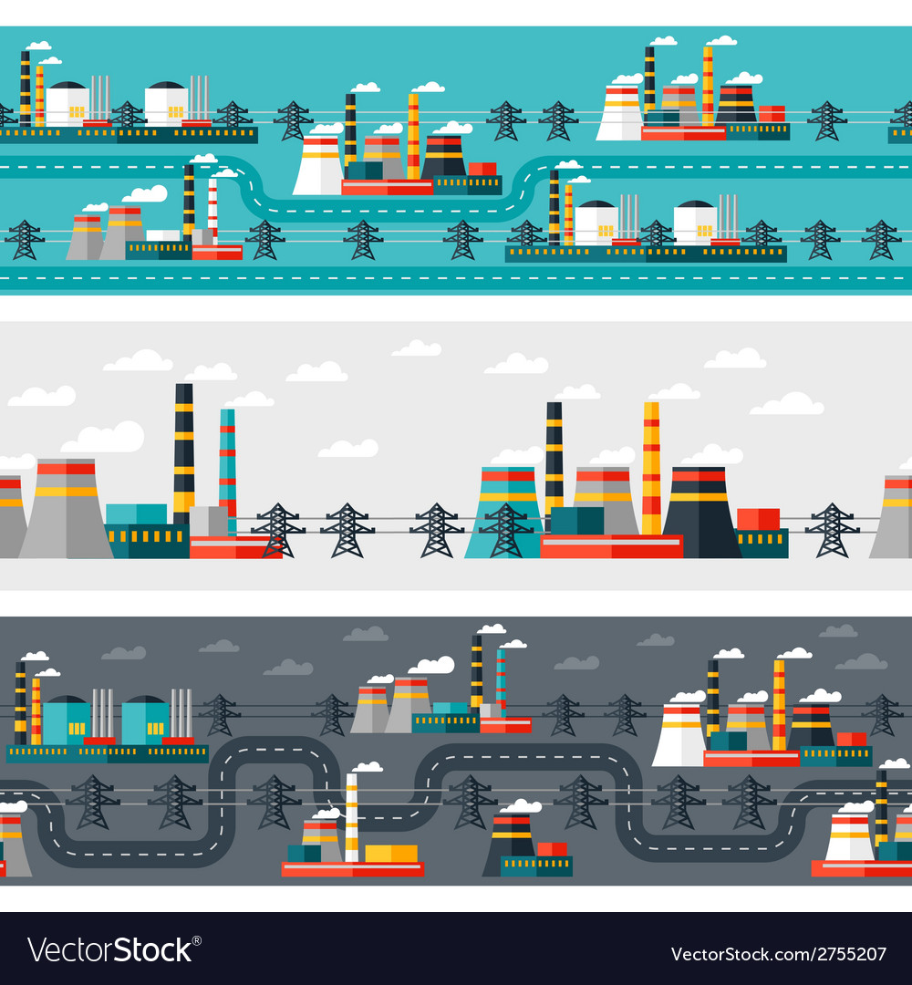 Seamless patterns of industrial power plants in vector | Price: 1 Credit (USD $1)