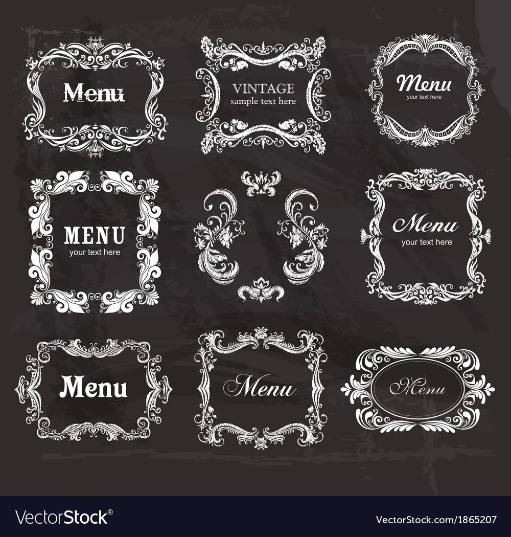 Set of vintage frames on the chalkboard vector