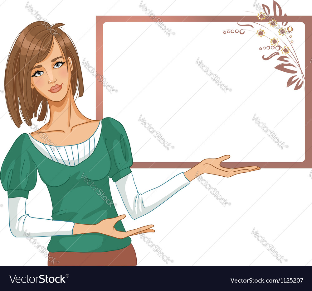 Young woman posing for presentation vector   Price: 1 Credit (USD $1)
