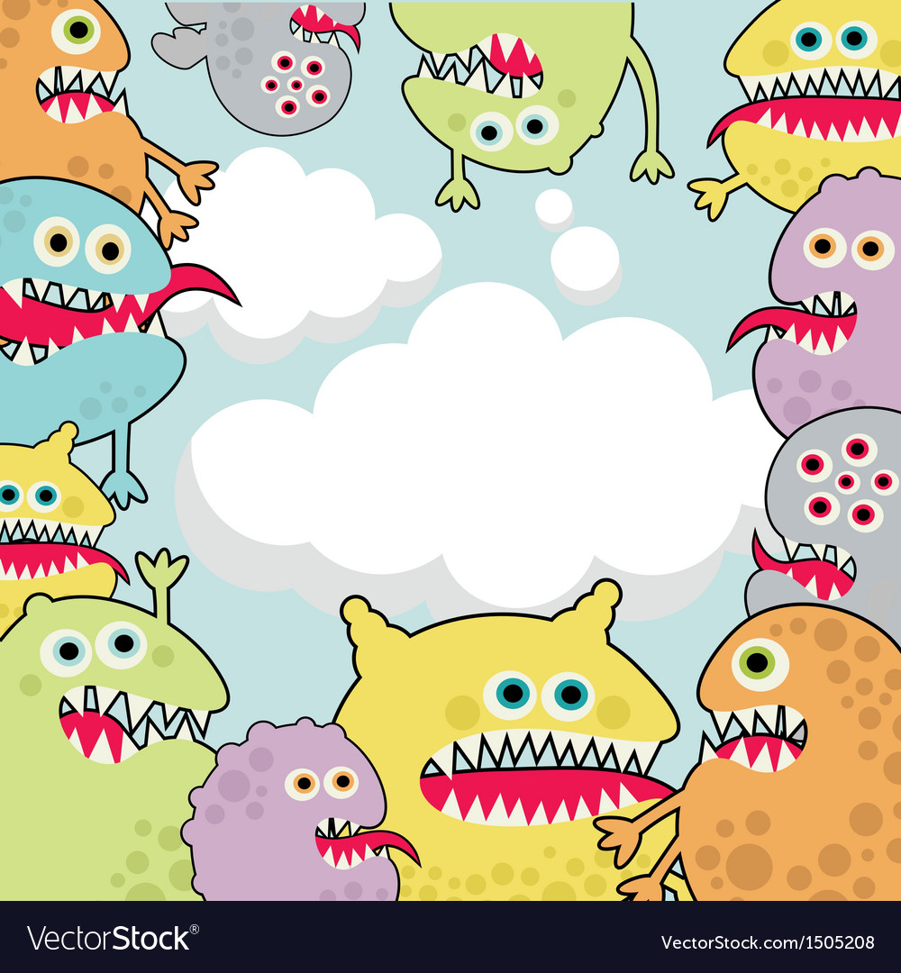 Cute monsters banner cloud shape vector | Price: 3 Credit (USD $3)