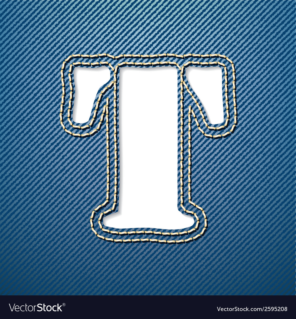 Denim jeans letter t vector | Price: 1 Credit (USD $1)