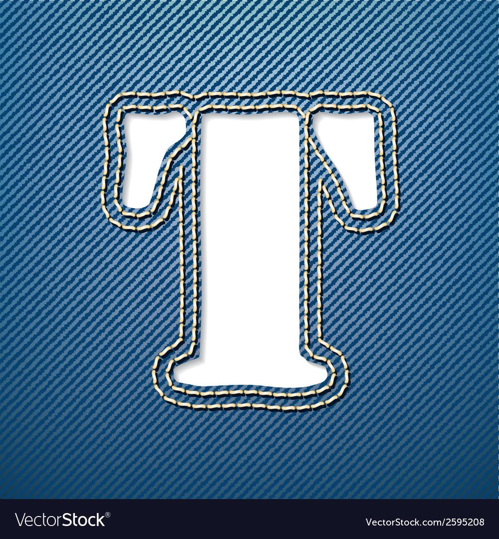 Denim jeans letter t vector | Price: 1 Credit (USD $1)
