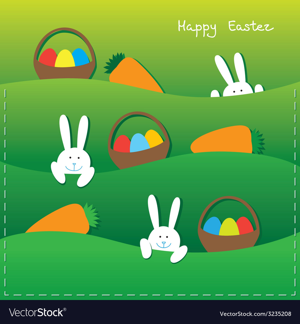 Easter card with funny bunnies vector | Price: 1 Credit (USD $1)