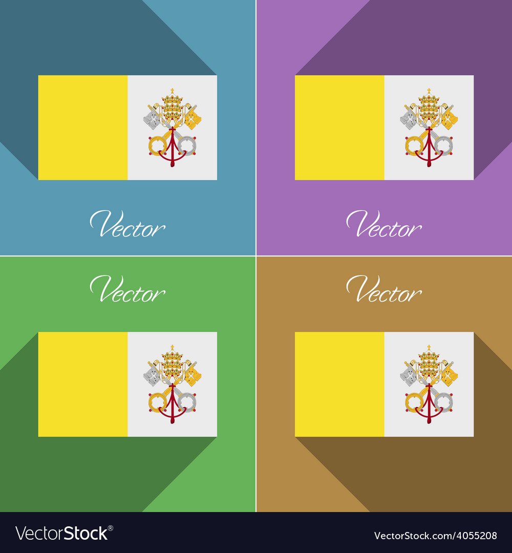 Flags vatican cityholy see set of colors flat vector | Price: 1 Credit (USD $1)