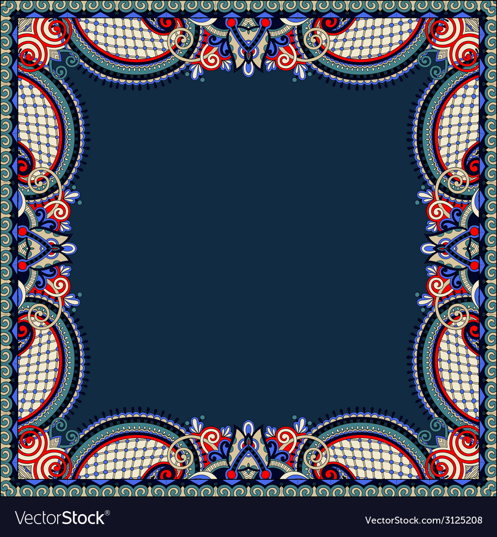 Floral vintage frame ukrainian ethnic style vector | Price: 1 Credit (USD $1)