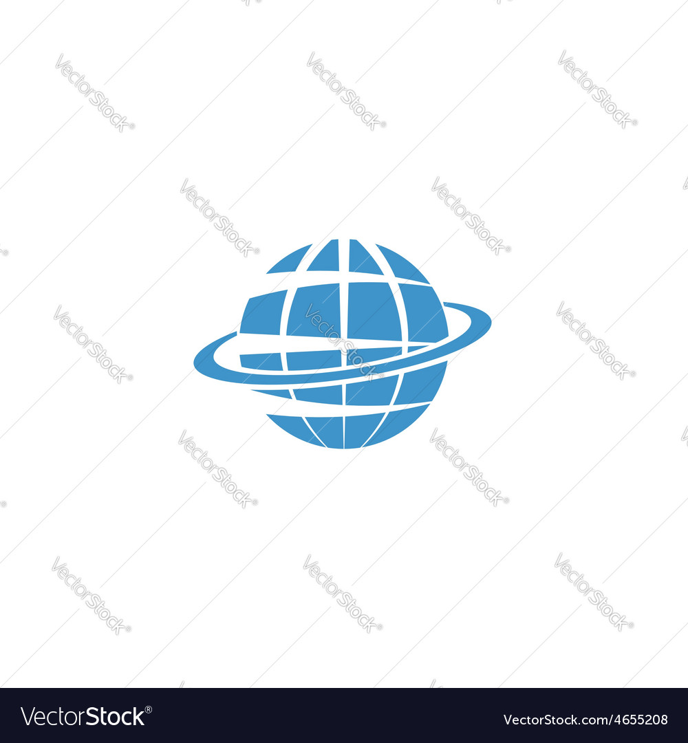 Globe mockup logo blue symbol of earth internet or vector | Price: 1 Credit (USD $1)