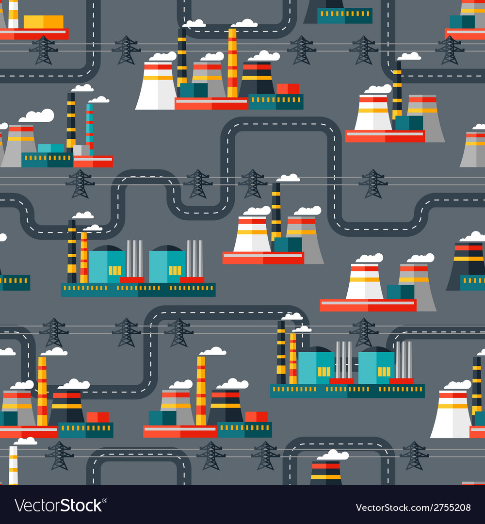 Seamless pattern of industrial power plants in vector | Price: 1 Credit (USD $1)