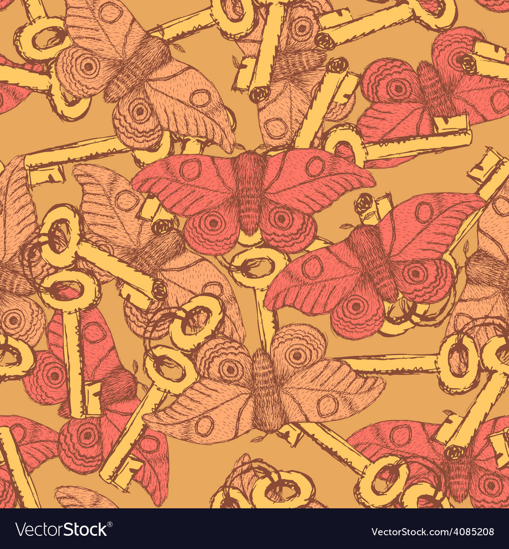 Sketch moth and key vintage style vector | Price: 1 Credit (USD $1)