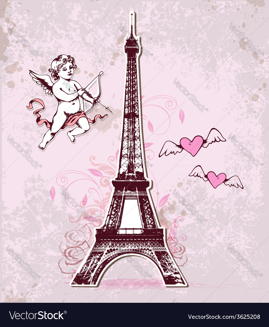 Vintage card with eiffel tower and cupid vector | Price: 1 Credit (USD $1)