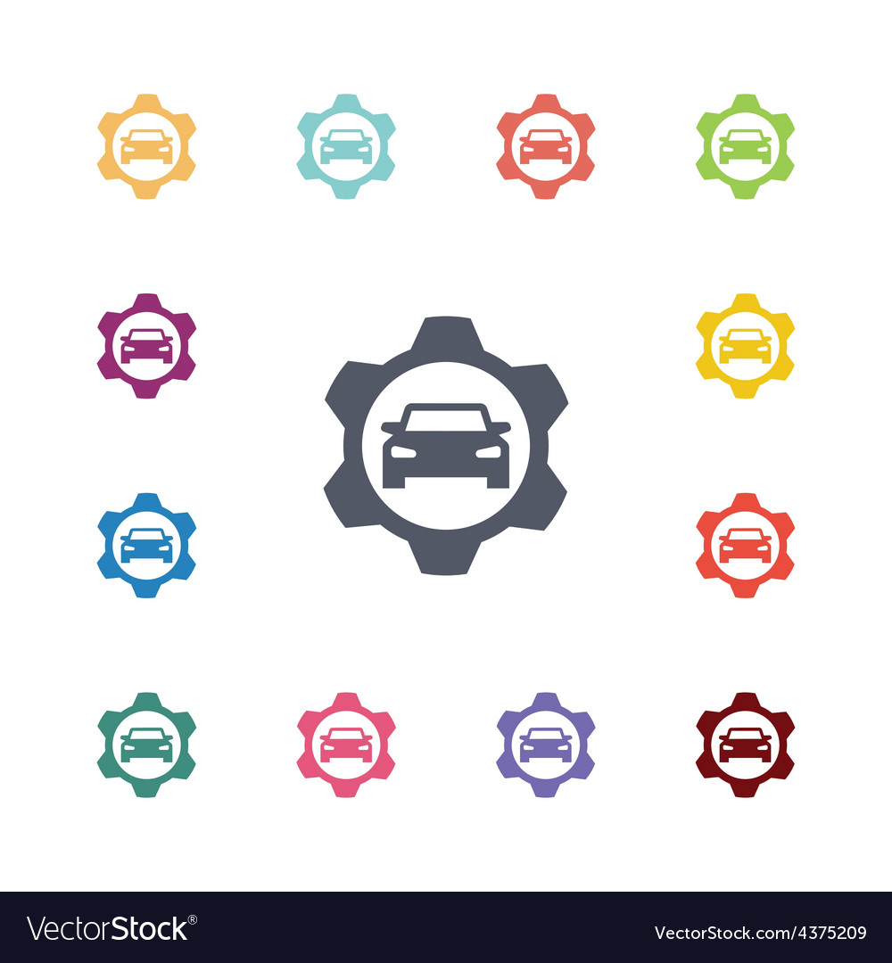 Auto service flat icons set vector | Price: 1 Credit (USD $1)