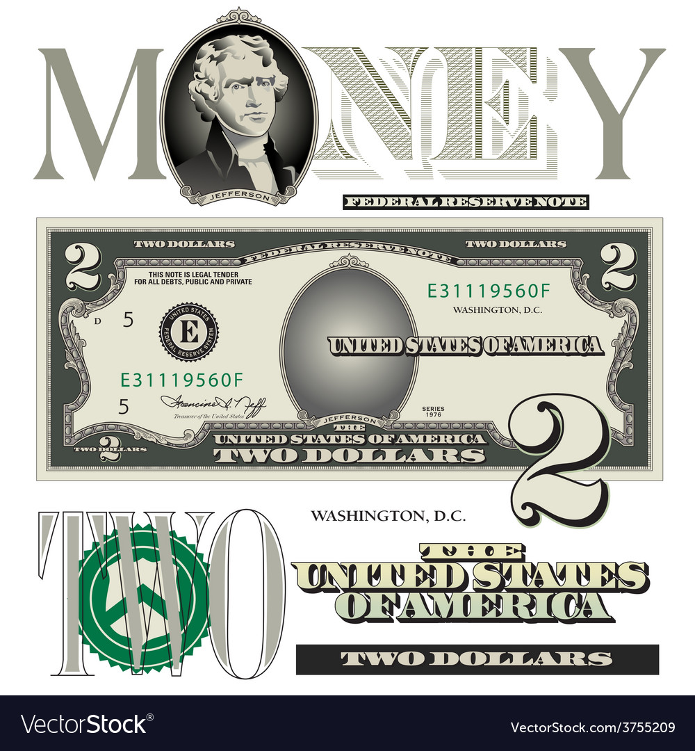 Money 2 dollar vector | Price: 1 Credit (USD $1)