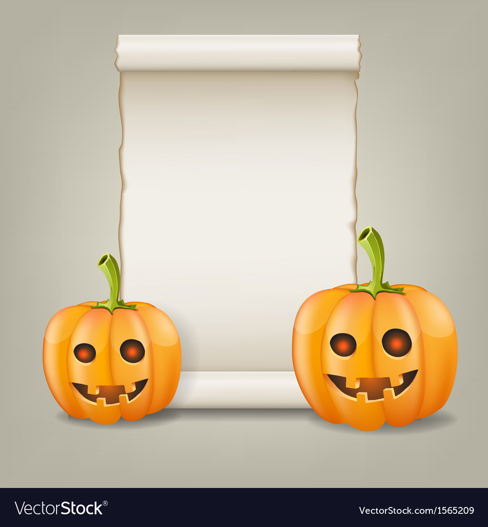 Pumpkin and scrolled paper vector | Price: 1 Credit (USD $1)