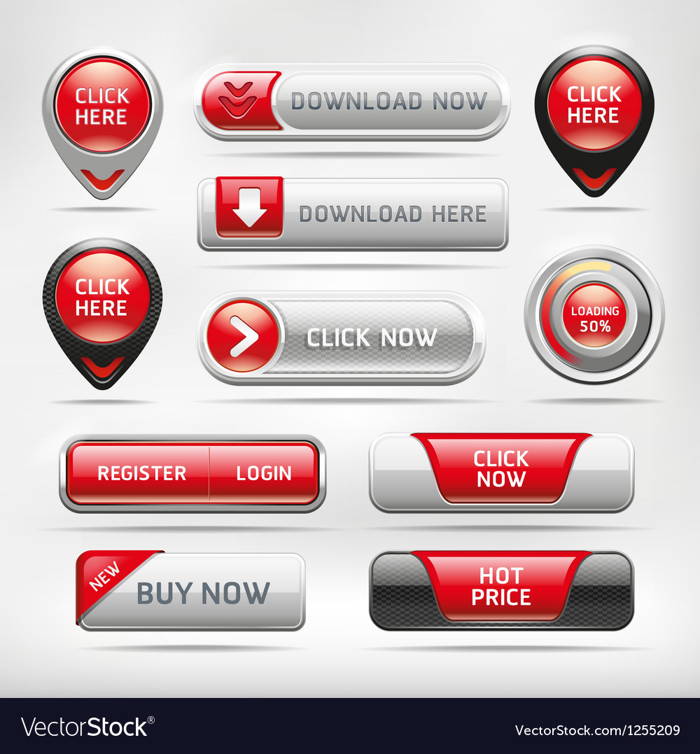 Red glossy web elements button set vector | Price: 3 Credit (USD $3)
