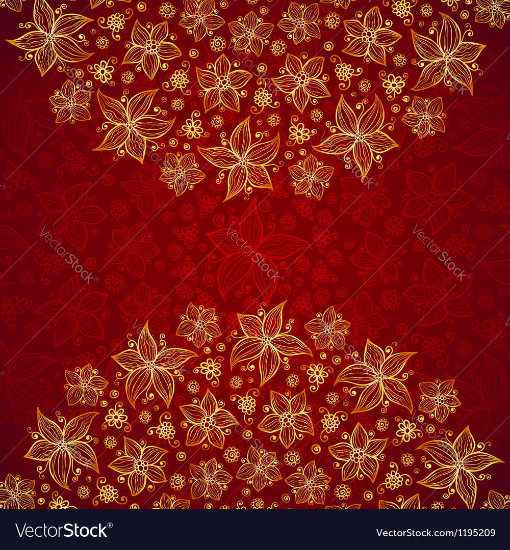 Red vintage doodle flowers background vector | Price: 1 Credit (USD $1)