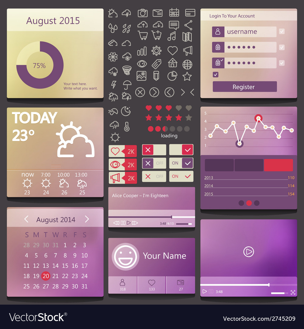 Set elements used for user interface vector | Price: 1 Credit (USD $1)