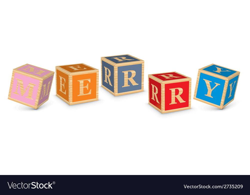 Word merry written with alphabet blocks vector | Price: 1 Credit (USD $1)
