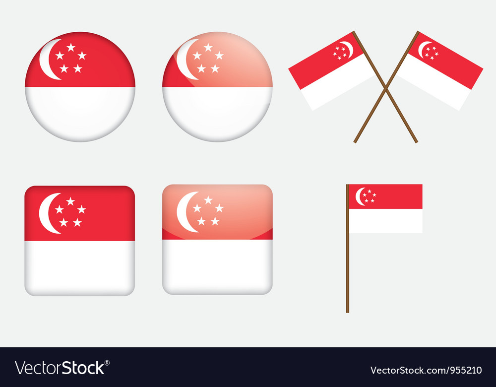 Badges with flag of singapore vector | Price: 1 Credit (USD $1)