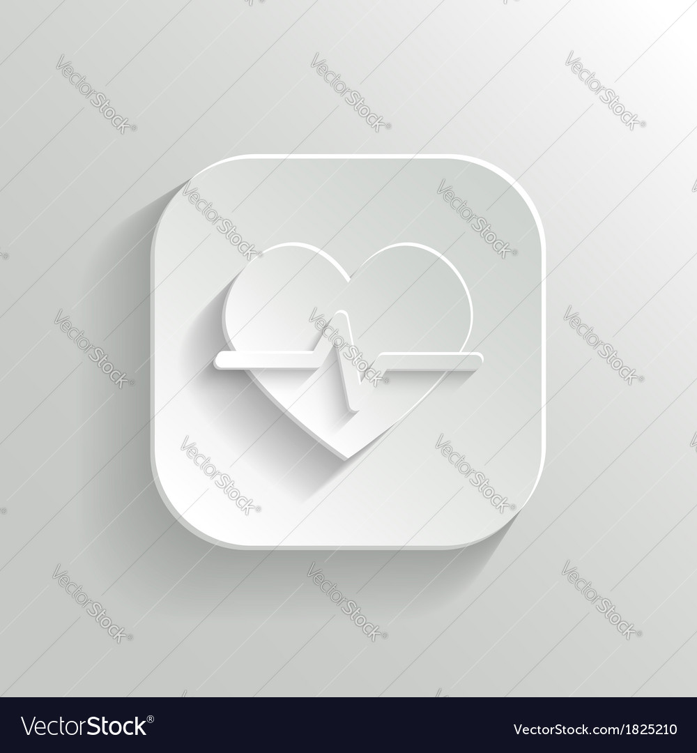 Cardiology icon - white app button vector | Price: 1 Credit (USD $1)