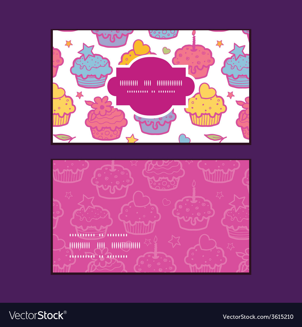 Colorful cupcake party horizontal frame pattern vector | Price: 1 Credit (USD $1)