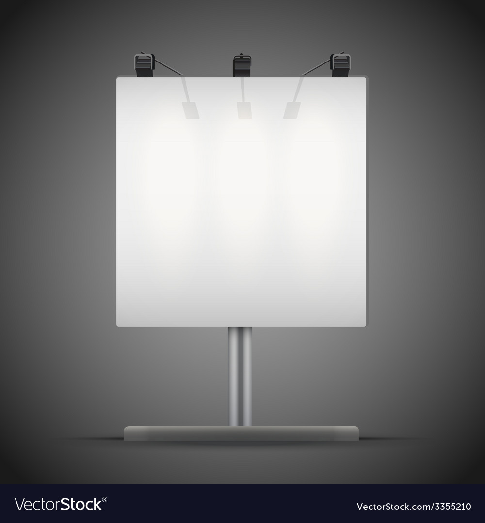 Empty square mockup billboard with spotlights and vector | Price: 1 Credit (USD $1)