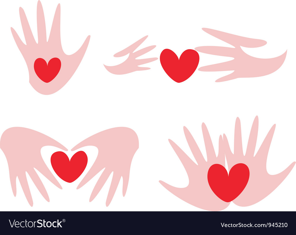 Hands and hearts vector | Price: 1 Credit (USD $1)
