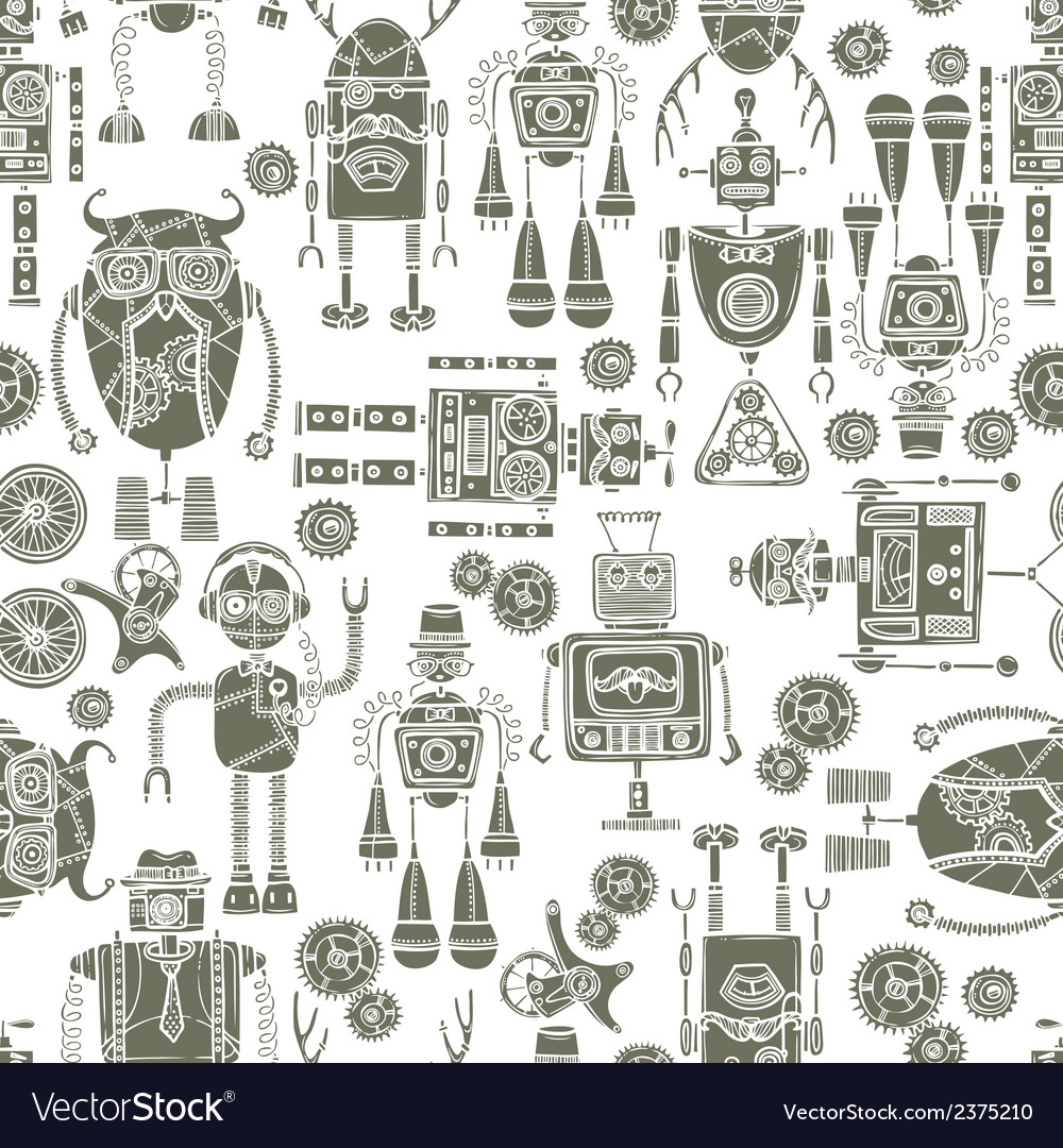 Hipster robot seamless pattern black and white vector | Price: 1 Credit (USD $1)