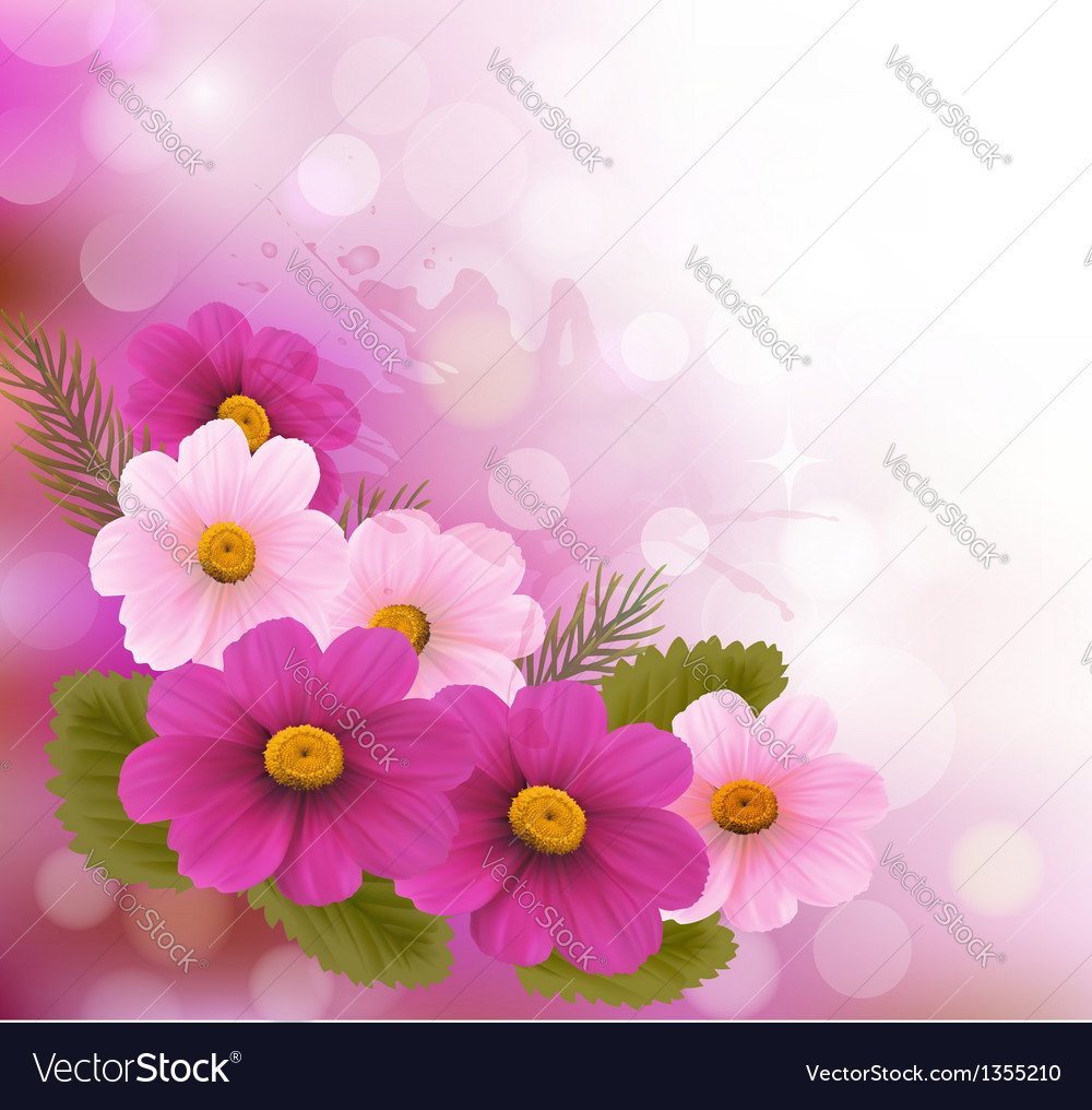 Holiday background with three pink flowers vector | Price: 3 Credit (USD $3)