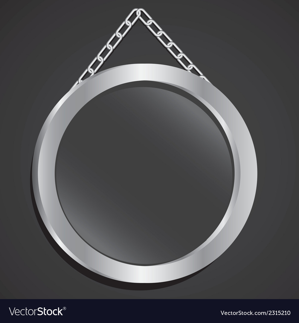 Metal frame with glass and chain on a black backgr vector | Price: 1 Credit (USD $1)