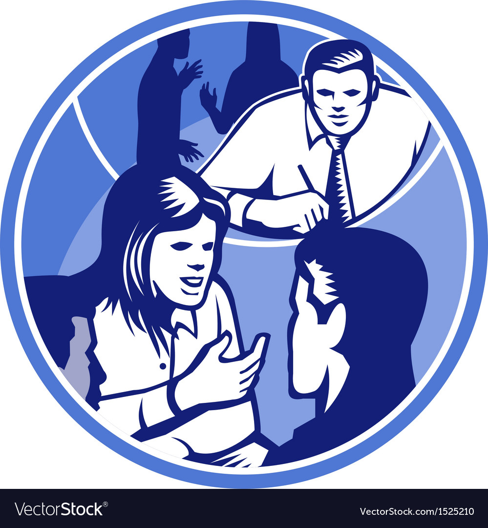 Office worker businesswoman discussion woodcut vector | Price: 1 Credit (USD $1)