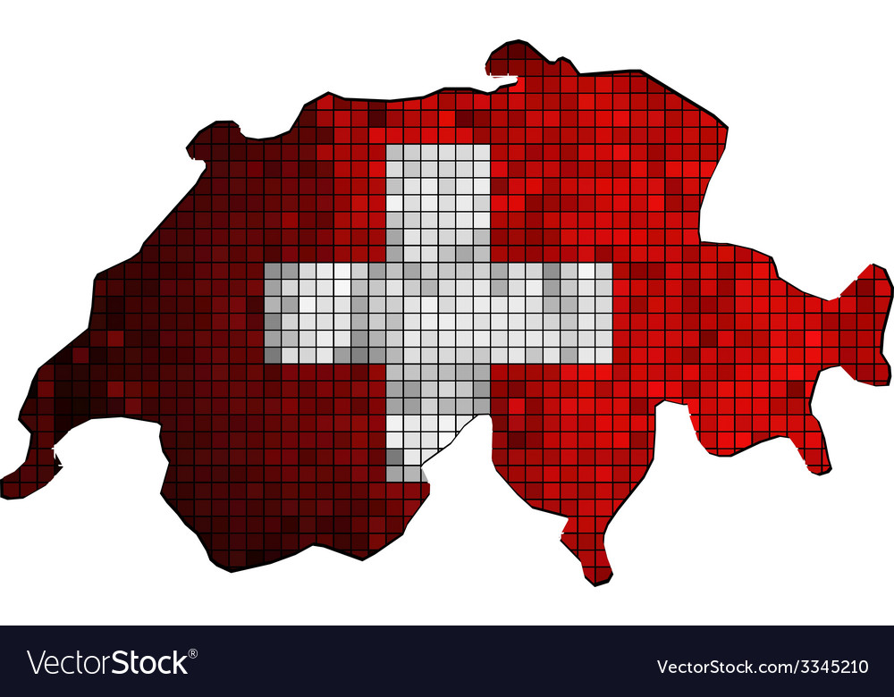 Switzerland map with flag inside vector | Price: 1 Credit (USD $1)