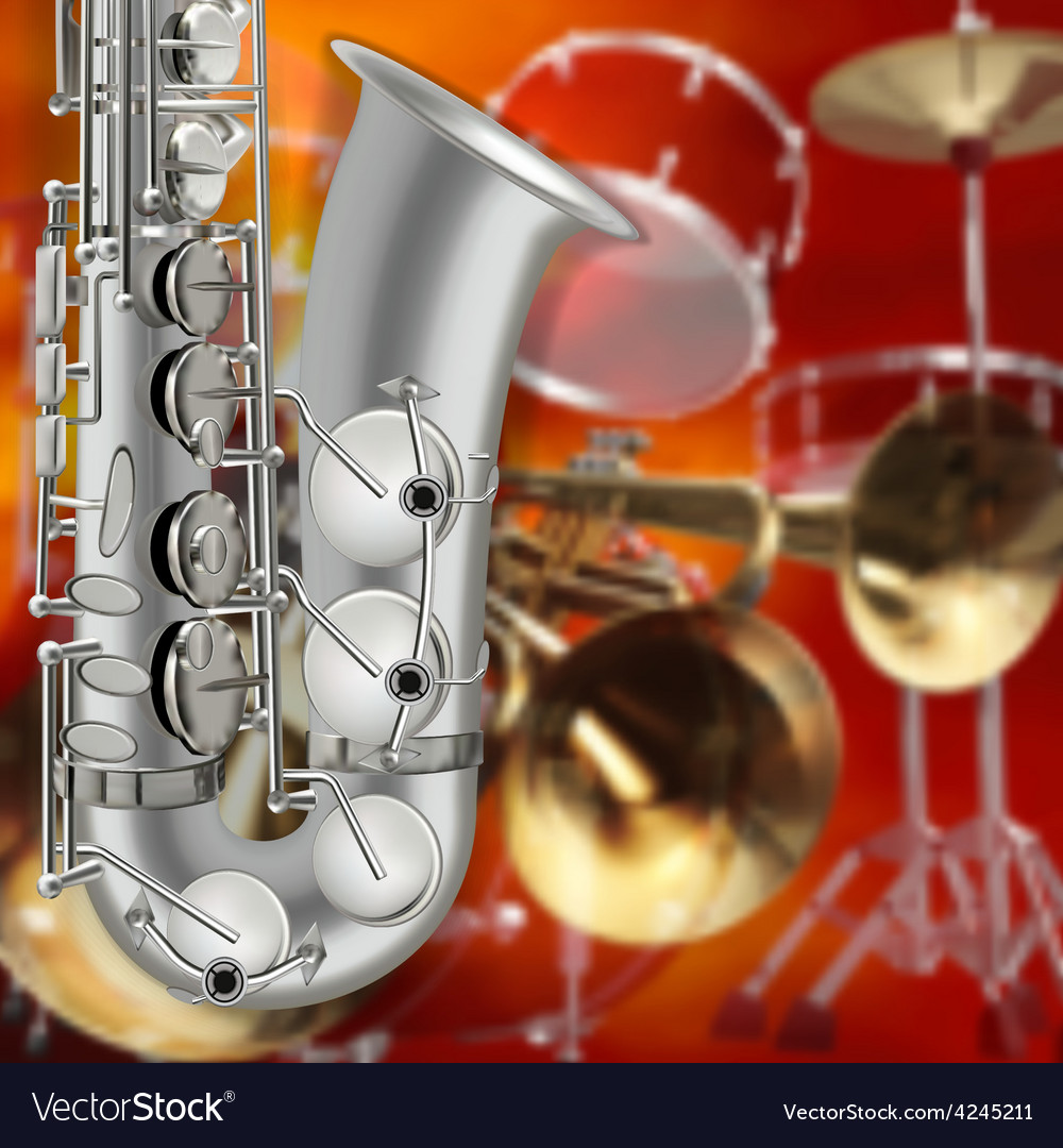Abstract music red background with saxophone and vector | Price: 3 Credit (USD $3)