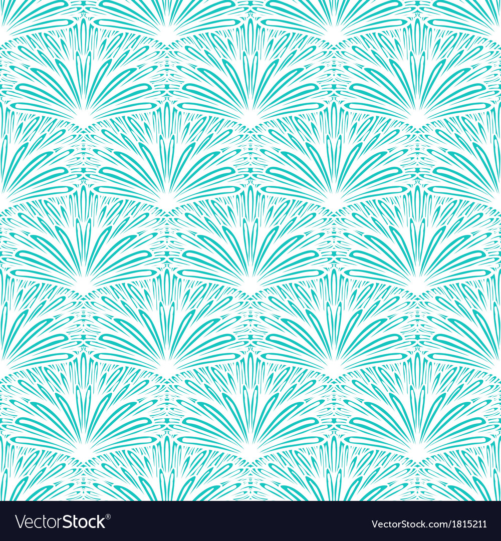 Art deco floral pattern in tropical blue vector | Price: 1 Credit (USD $1)