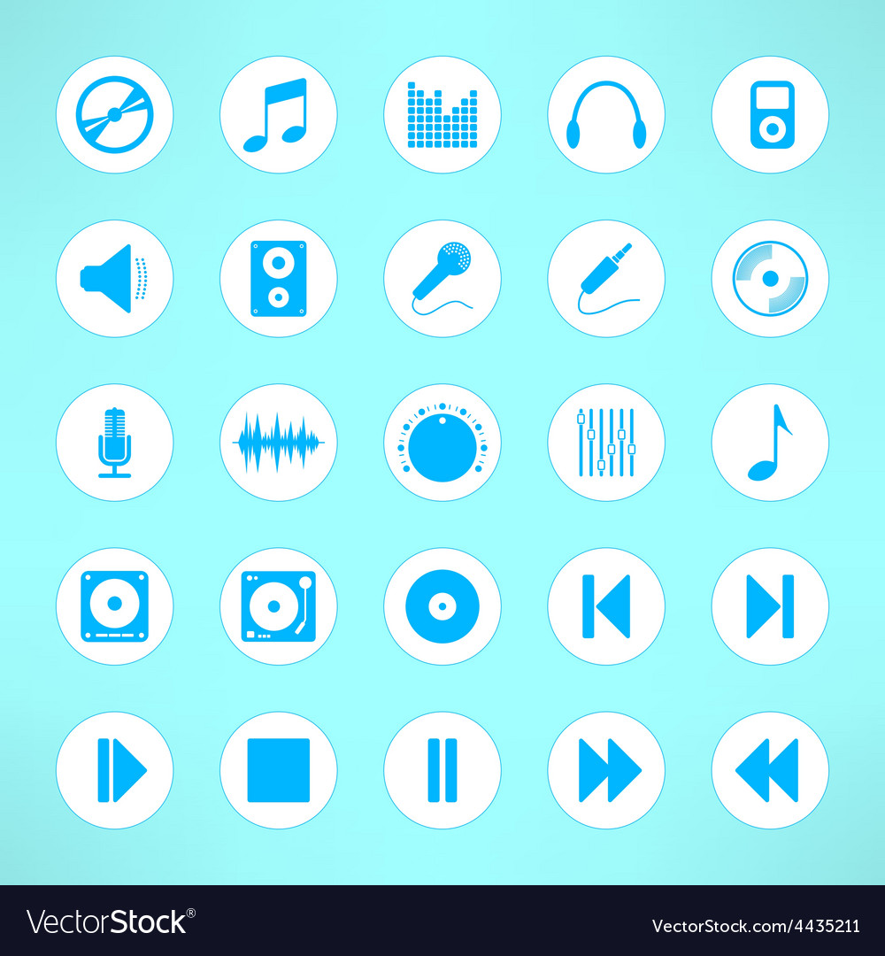 Audio icons set made in clean and simple design vector | Price: 1 Credit (USD $1)