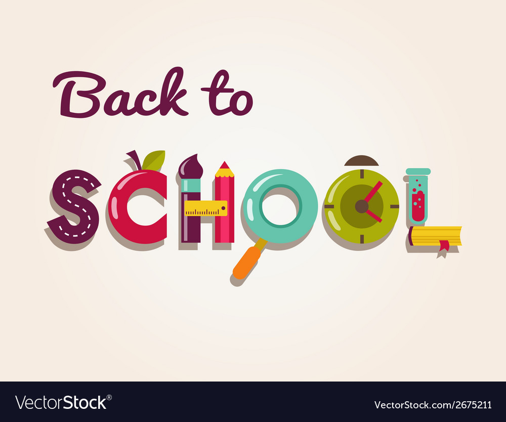 Back to school - text with icons concept vector | Price: 1 Credit (USD $1)