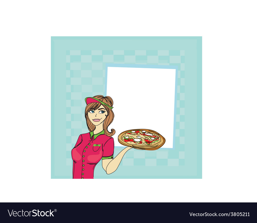 Beautiful woman serving pizza vector | Price: 1 Credit (USD $1)