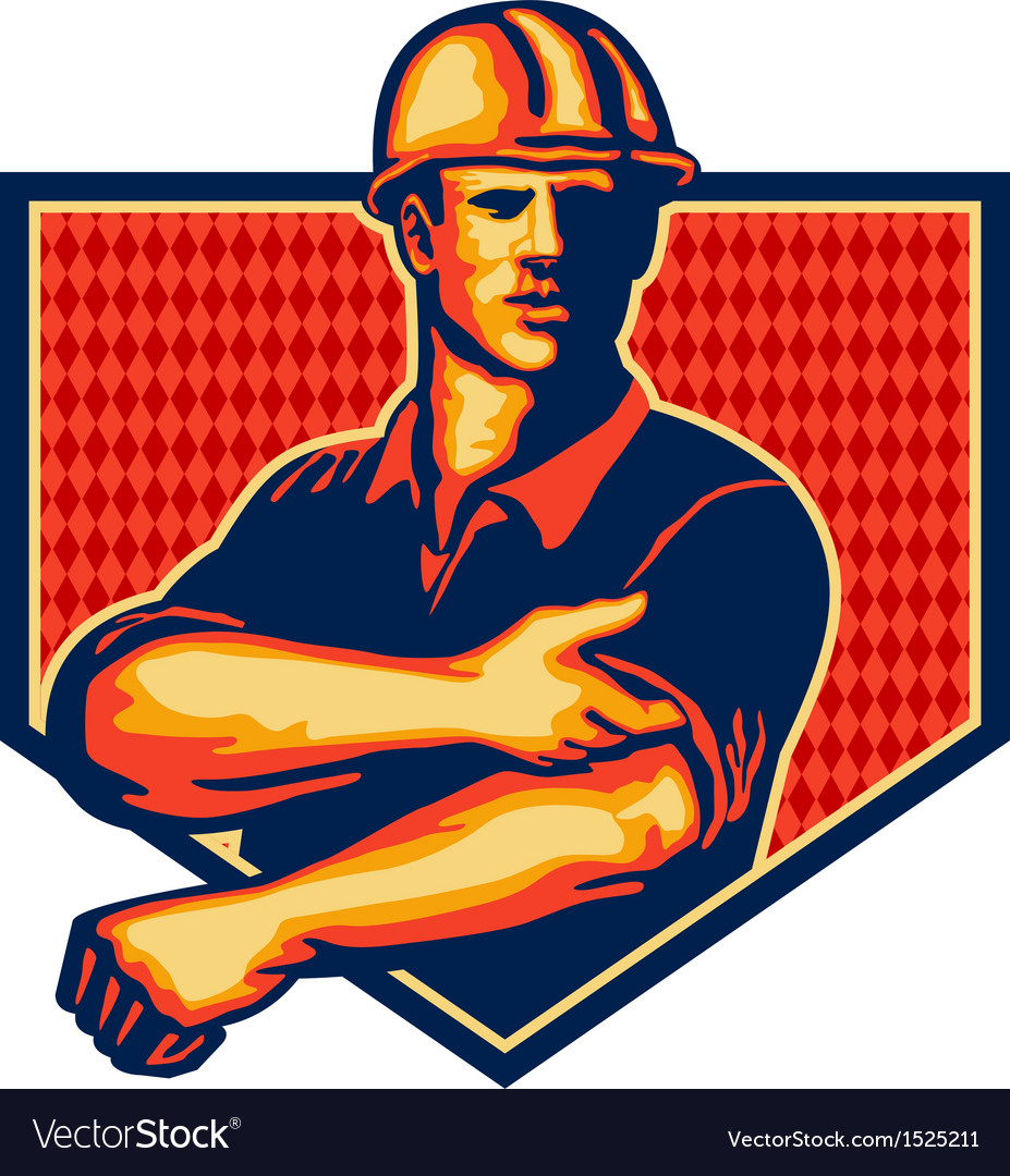 Construction worker rolling up sleeve retro vector | Price: 1 Credit (USD $1)