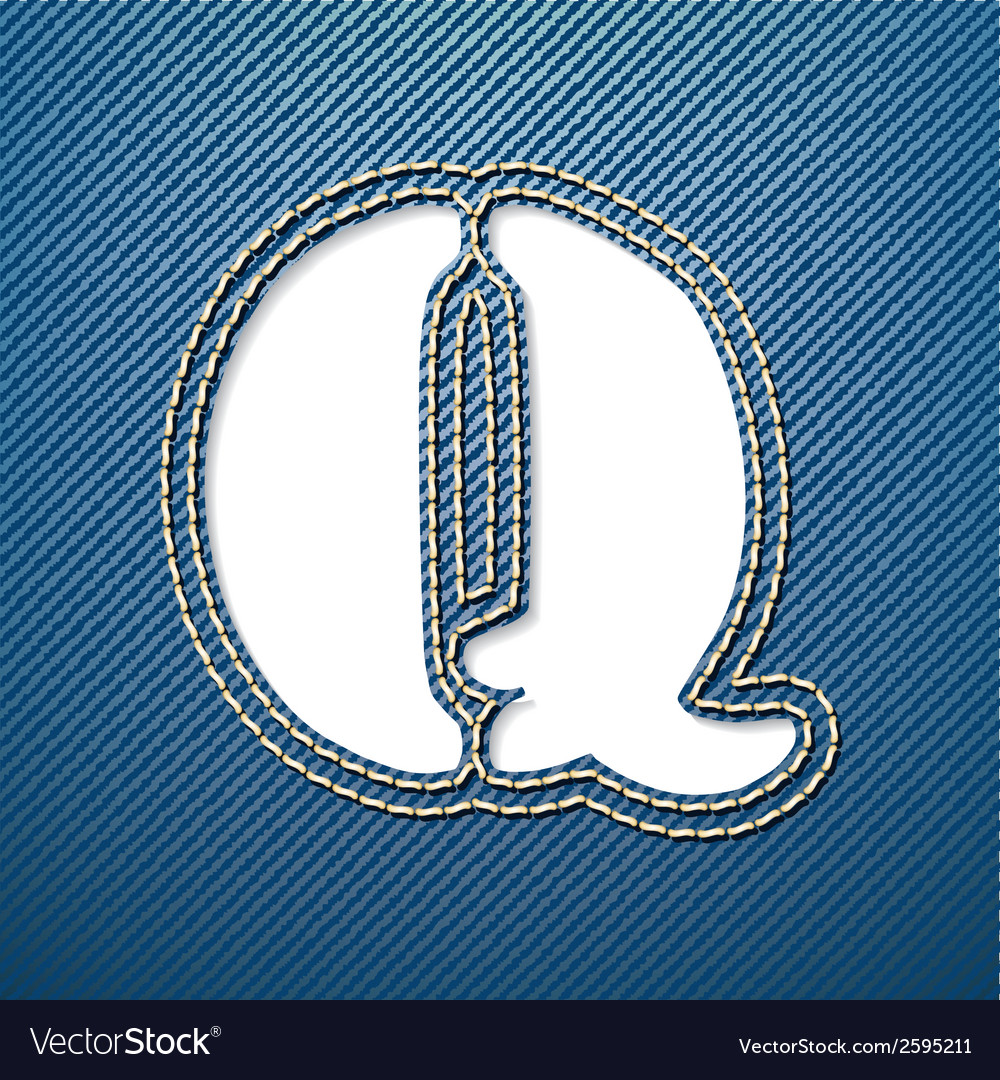 Denim jeans letter q vector | Price: 1 Credit (USD $1)