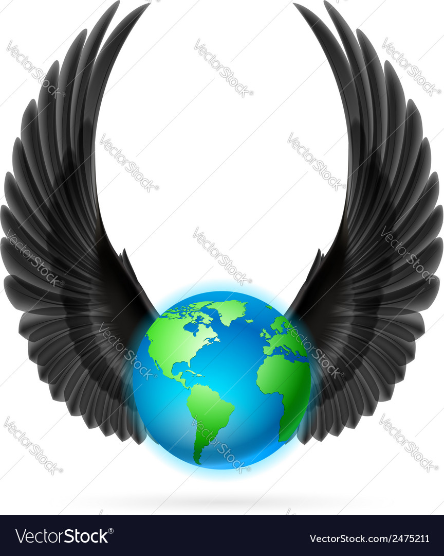 Globe with black wings on white vector | Price: 1 Credit (USD $1)