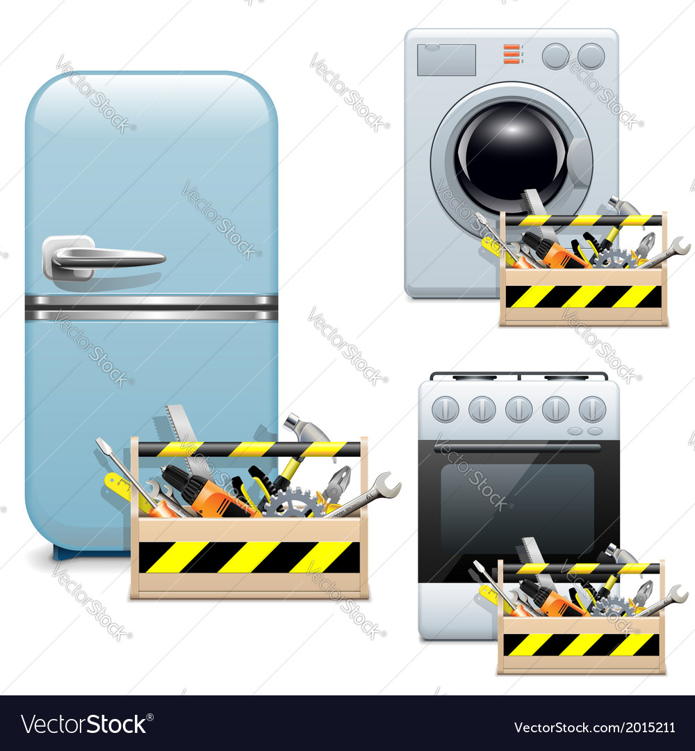 Household appliance repair icons vector | Price: 3 Credit (USD $3)