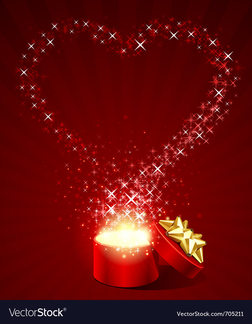Open gift present box with fly stars heart shape vector | Price: 1 Credit (USD $1)