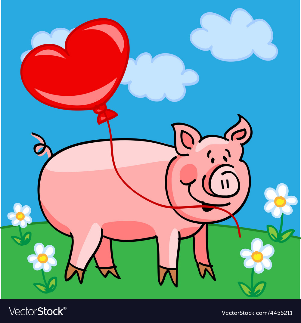 Pig cartoon with heart balloon vector | Price: 1 Credit (USD $1)