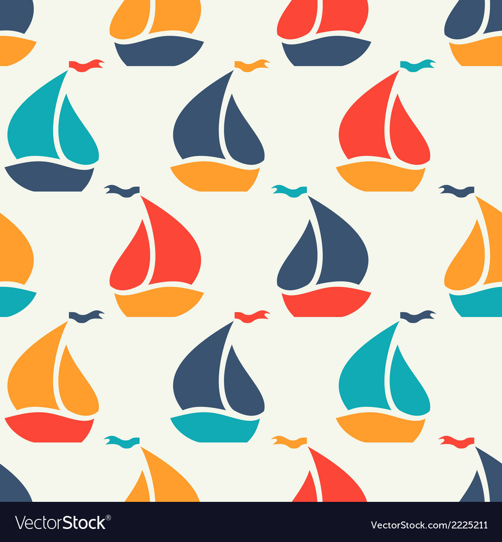 Seamless pattern of colorful sailboat shape vector | Price: 1 Credit (USD $1)