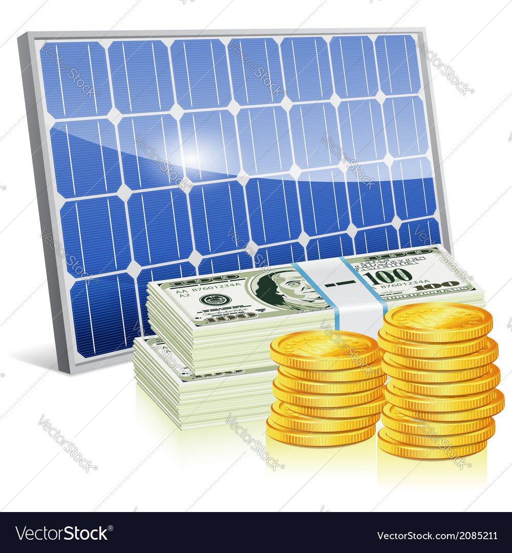 Solar panel with money vector | Price: 1 Credit (USD $1)