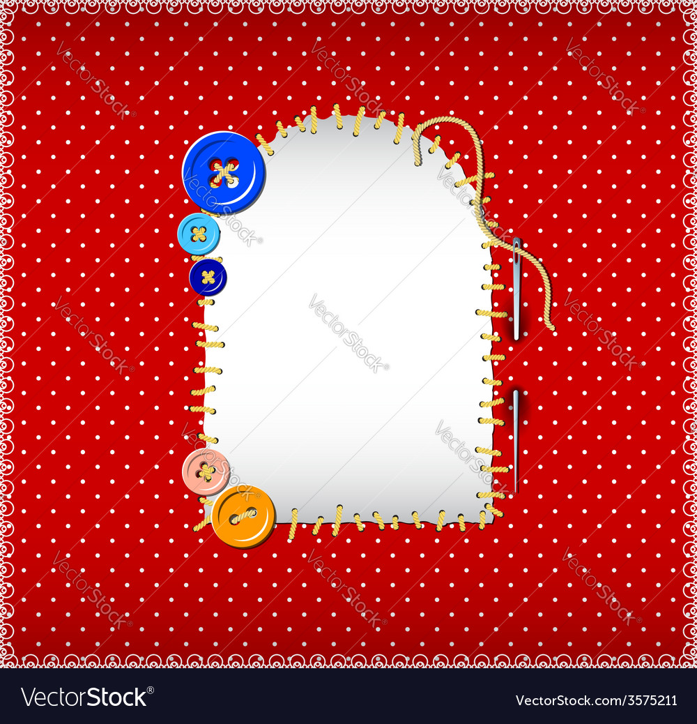 Stitched patch on polka dot fabric vector | Price: 1 Credit (USD $1)