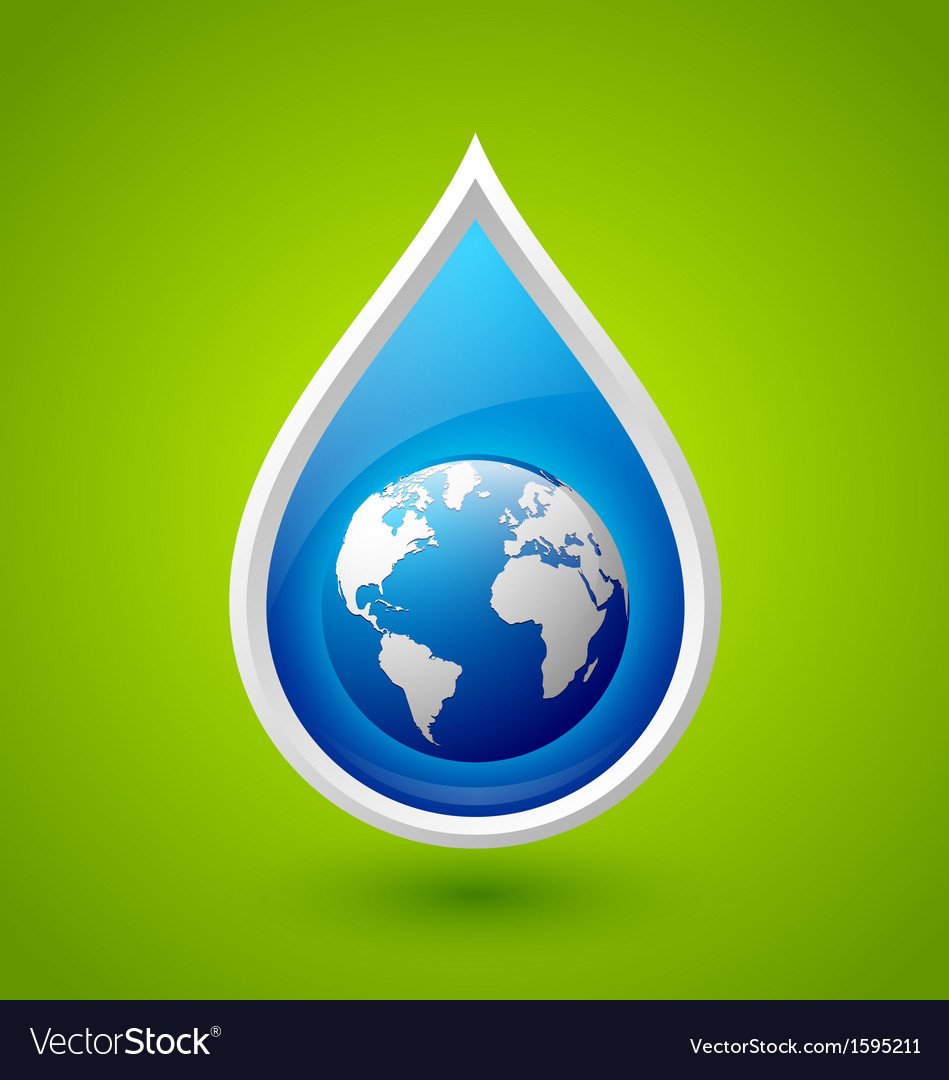 Water drop and planet earth icon vector | Price: 1 Credit (USD $1)