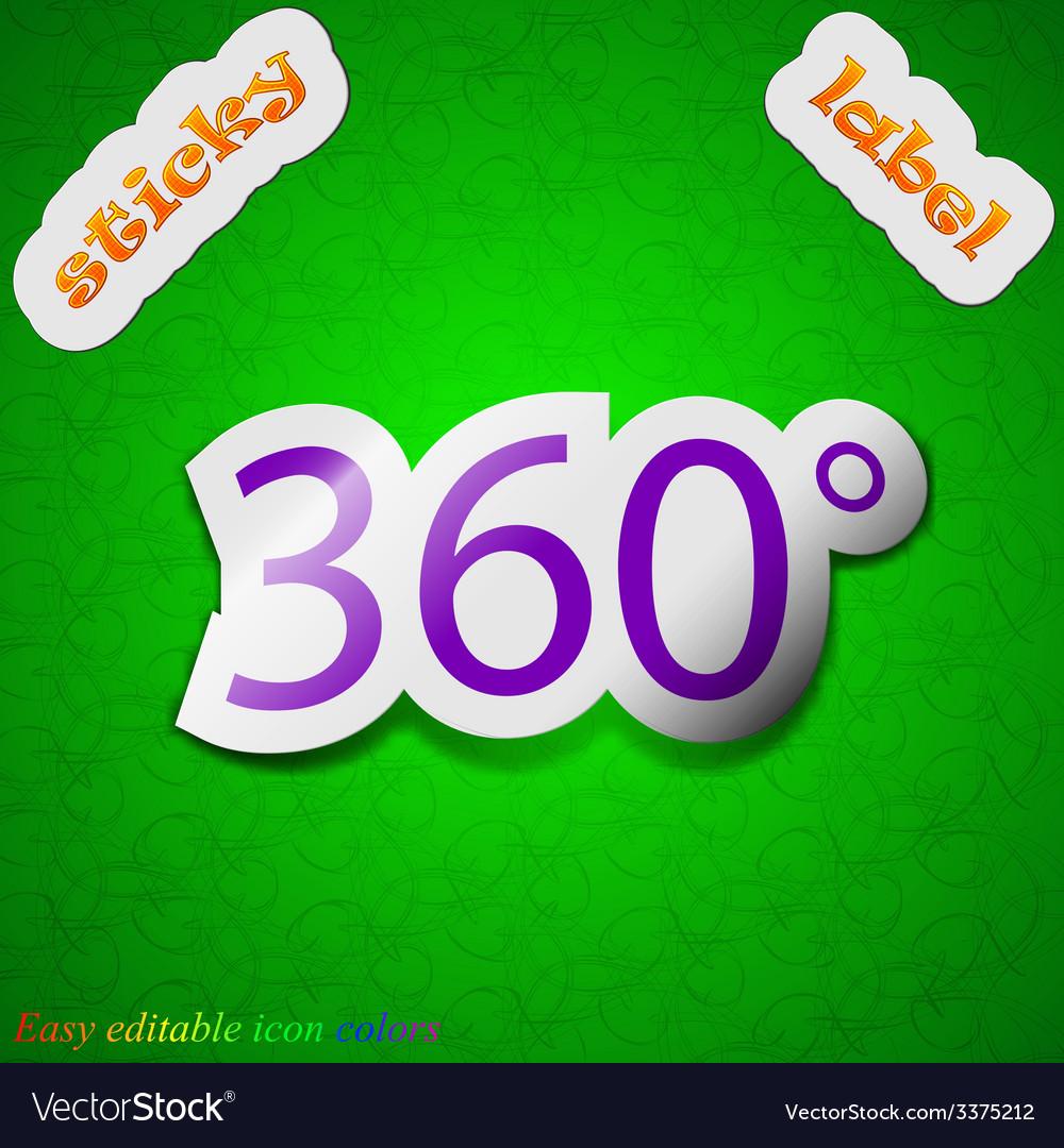 Angle 360 degrees icon sign symbol chic colored vector | Price: 1 Credit (USD $1)