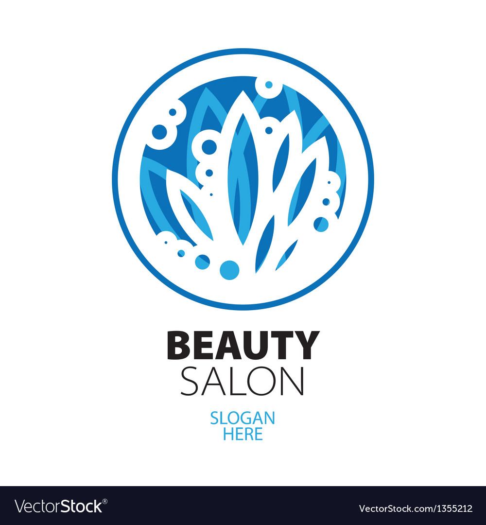 Blue ball of leaves logo for beauty salon vector | Price: 1 Credit (USD $1)