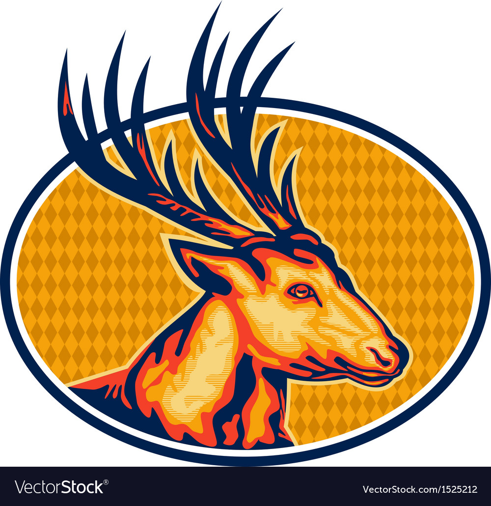 Deer stag buck head retro vector | Price: 1 Credit (USD $1)