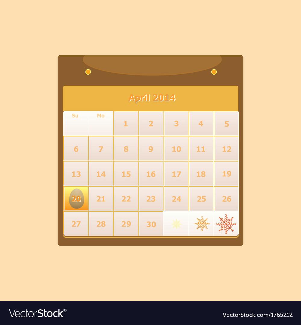 Design schedule monthly april 2014 calendar vector | Price: 1 Credit (USD $1)